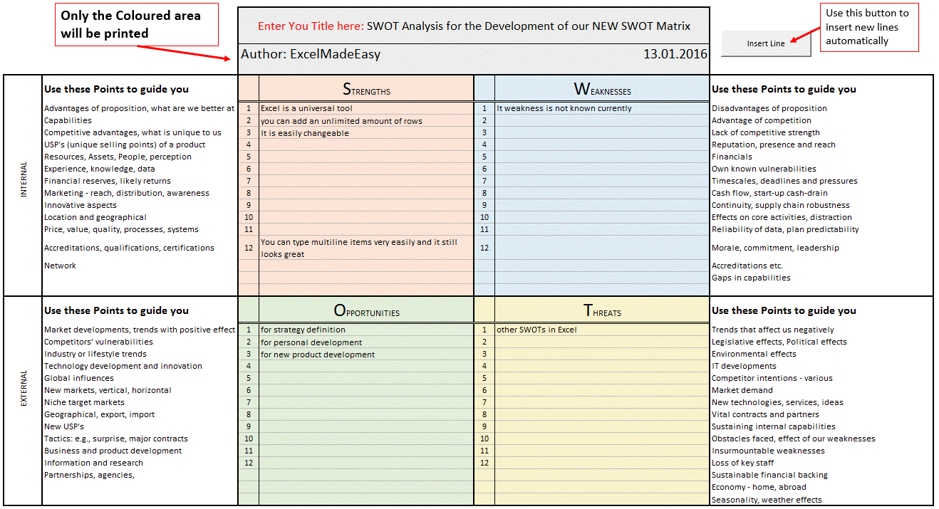 swot matrix template for excel by excel made easy swot matrix template