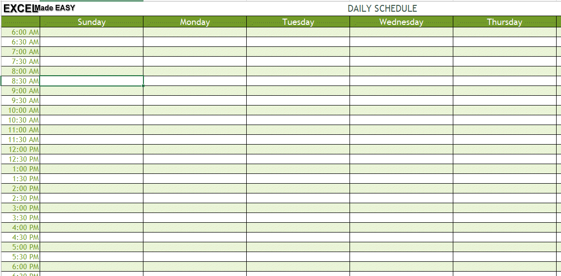daily schedule xls