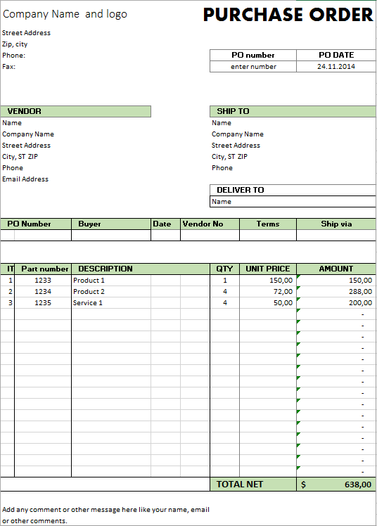 Excel template free purchase order template for for Purchase order email template