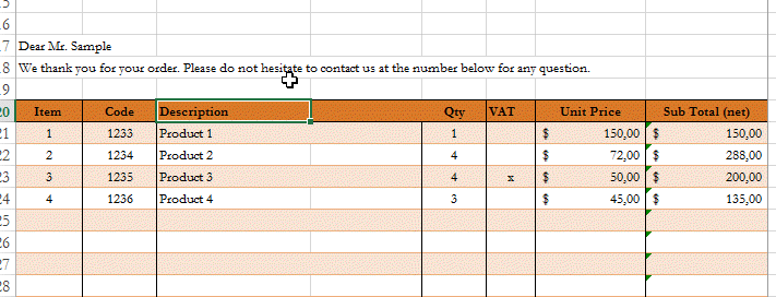excel invoice template different theme