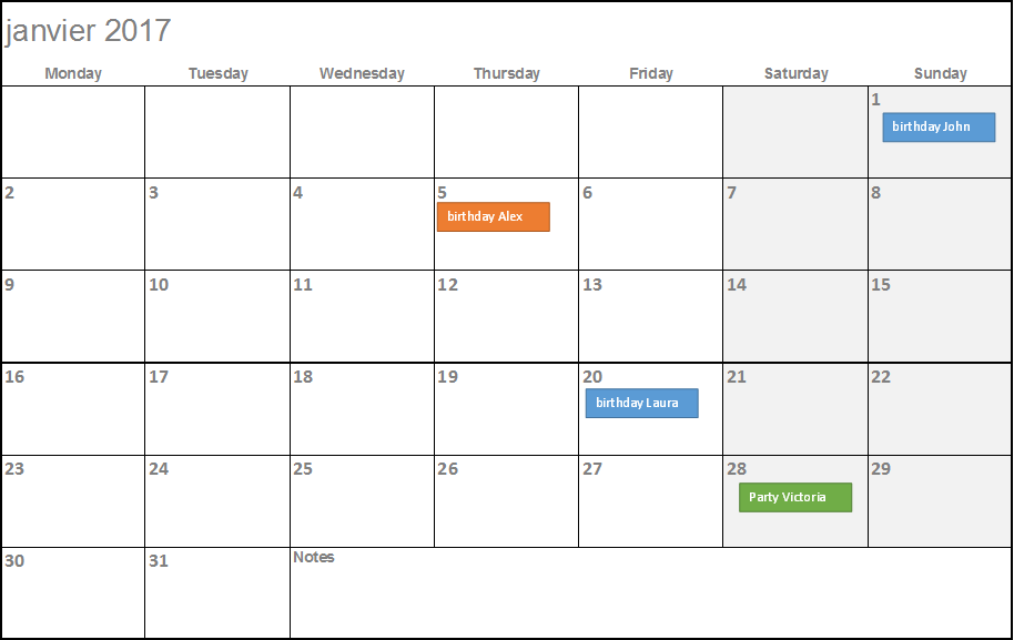 Easy Calendar Template Roho4senses