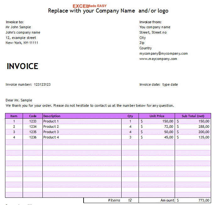 Invoice Template For Microsoft Excel By ExcelMadeEasy - Simple free invoice template