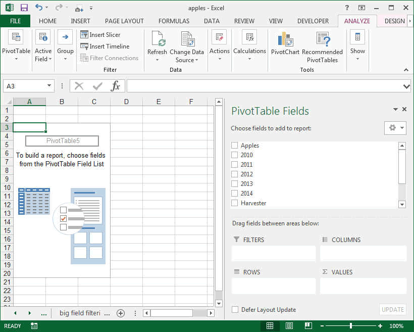 pivot table sheet