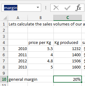 margin naming cells