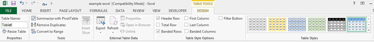 table tool design ribbon