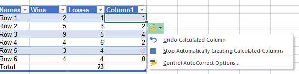 calculated columns