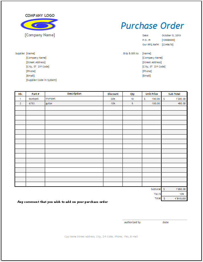 Small business purchase order template for excel